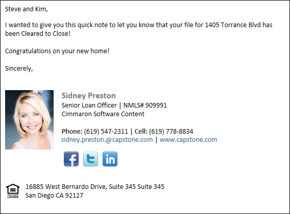 Update on 1405 Torrance Blvd - Loan Clear to Close